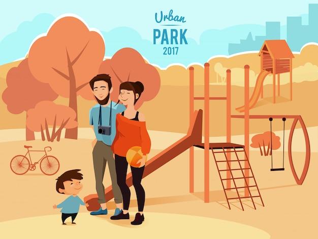 人々はリラックスして都市公園を歩いて