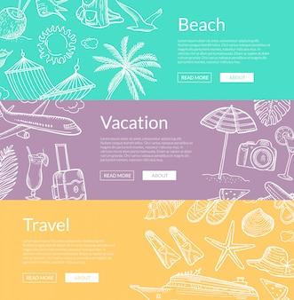 手描き夏旅行要素バナーセット