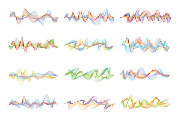 音楽イコライザーの抽象的な形とグラフィック波