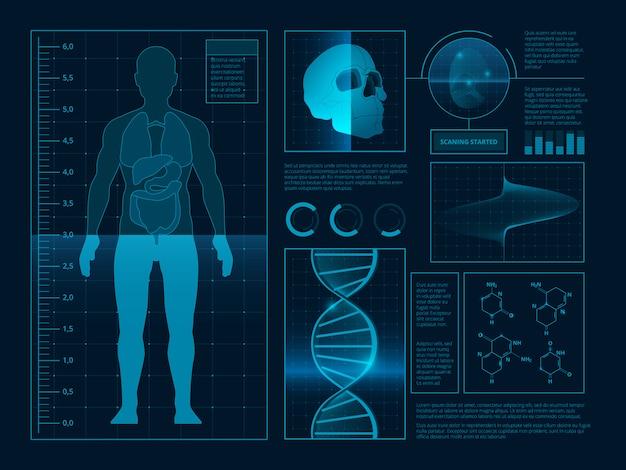 Цифровая аннотация здоровья инфографики.