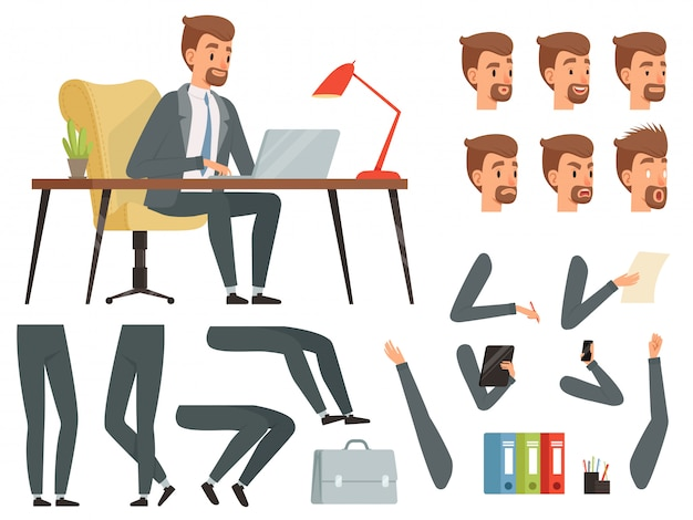Различные ключевые кадры для анимации деловых персонажей