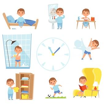 Дети делают разные дела в течение всего дня