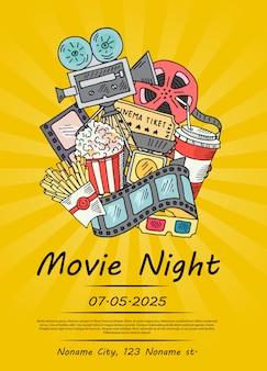 映画の夜や祭りの映画落書きポスター