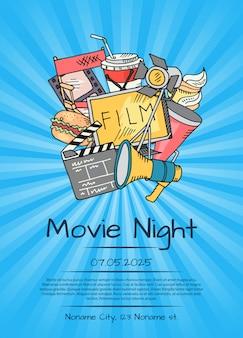 Киноплакат на ночь кино или фестиваль