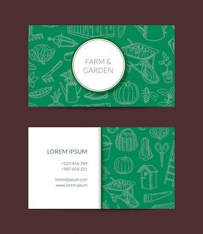 Садоводство каракули иконки визитная карточка