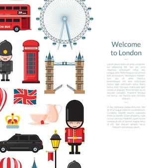 Мультфильм баннер достопримечательностей лондона