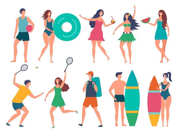 夏の人々のグループ。様式化されたベクトル文字分離