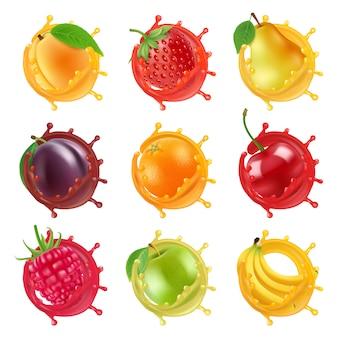 Плоды в сочных брызгах. векторные реалистичные картинки свежих фруктов