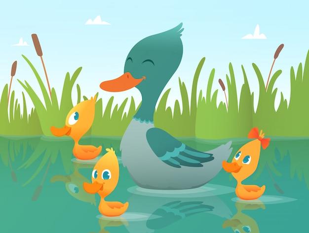 Иллюстрация мультфильм утка, веселые утки