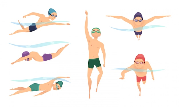Вектор пловцов. различные персонажи пловцов в боевых позах