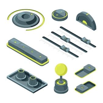 Изометрические кнопки. реалистичные изометрические изображения различных кнопок пользовательского интерфейса