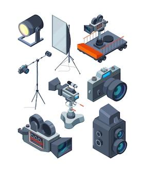 写真ビデオカメラ。ビデオまたは写真スタジオのさまざまな機器