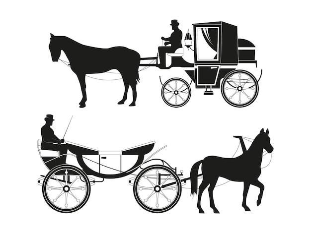 Старинные коляски с лошадьми. векторные картинки ретро сказочного транспорта