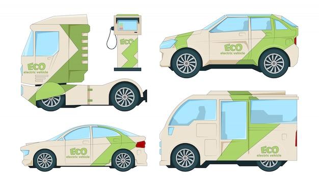 Эко электромобили. мультяшный экологический транспорт на белом