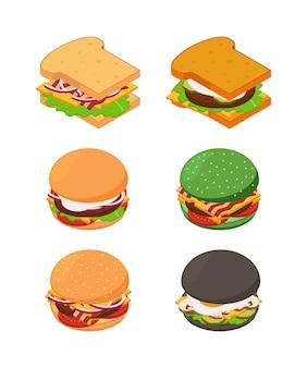 等尺性ハンバーガーとサンドイッチ。ファーストフードの写真セット