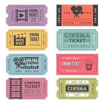 映画のチケットのテンプレート。ビデオカメラやその他のツールのイラストを使用したさまざまな映画のチケットのベクターデザイン