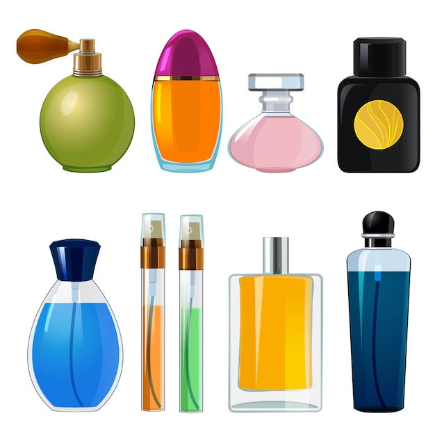 香水瓶。女性の香水用のさまざまなフラスコとガラス瓶