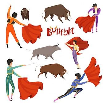 闘牛のコリーダ。マタドールと様々な動的ポーズの雄牛のベクトルイラスト