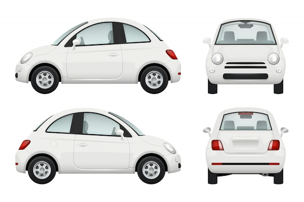 乗用車。車の異なるビュー現実的なイラスト