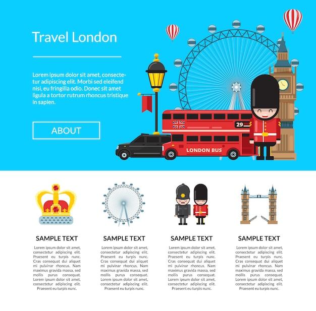 旅行ロンドンのテンプレート。ベクトル漫画ロンドン要素