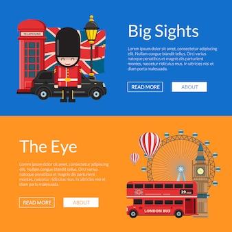 Векторный мультфильм достопримечательности лондона. набор шаблонов баннеров достопримечательностей англии