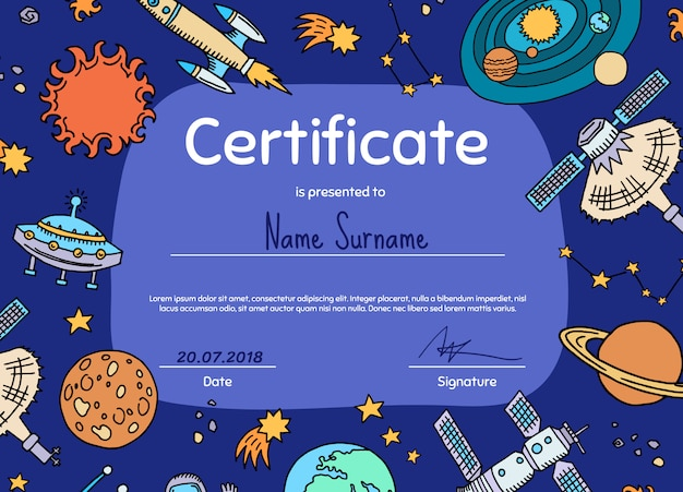 スペース要素をテーマにした子供向けの卒業証書または証明書