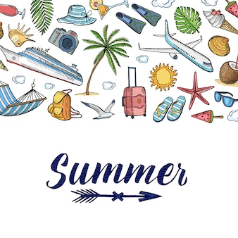 夏旅行要素の背景