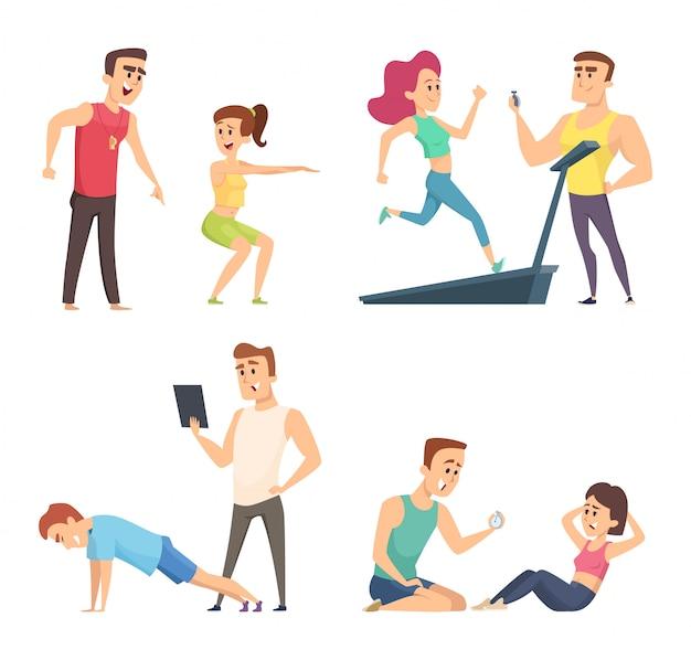 Тренировка в тренажерном зале. набор персонажей мультфильма спорта