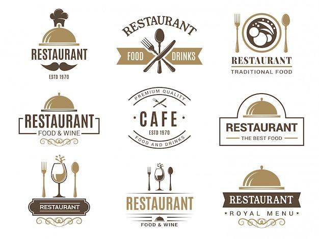 ヴィンテージのロゴタイプとレストランメニューのさまざまなシンボル
