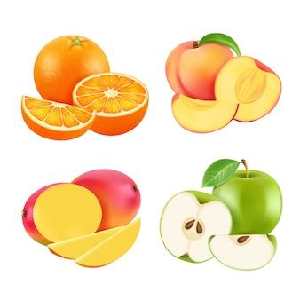 Иллюстрации различных свежих фруктов. реалистический