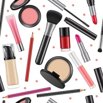 女性化粧品のパターン。さまざまな化粧品とのシームレスな背景