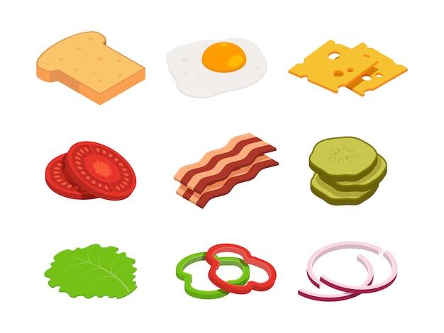 サンドイッチ等尺性。さまざまな食材を使用した食品の製造