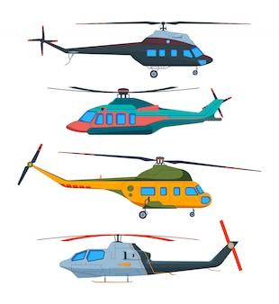 Вертолет авиация. вертолеты мультфильма. авиа перевозки, изолированные на белом