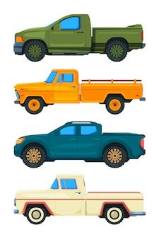 ピックアップトラック。輸送。イラスト自動車