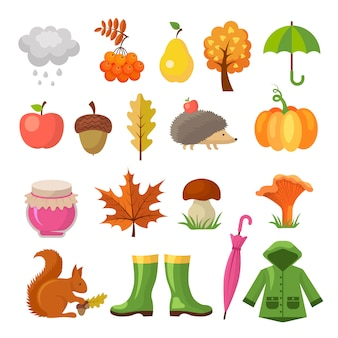 Осень цветные символы. набор иконок осень