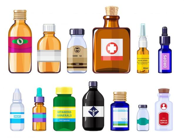 Различные медицинские флаконы. бутылки с наркотиками концепции здравоохранения с этикетками