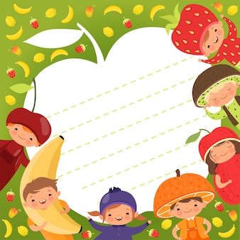 キッズメニューテンプレート。フルーツの衣装でイラスト幸せな子供と色付きの背景