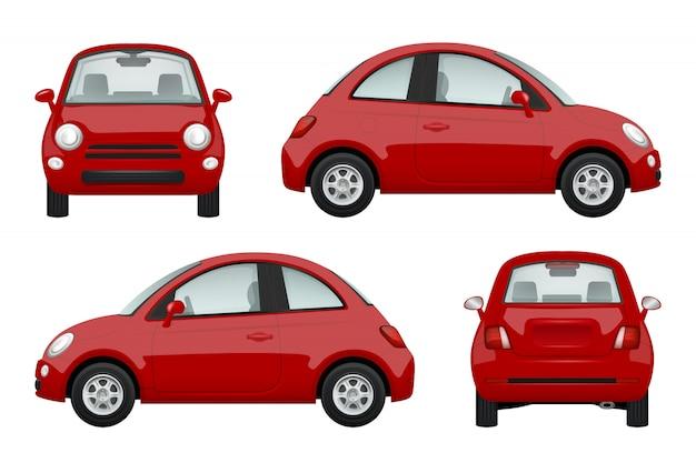 色の車。さまざまなリアルなイラスト車