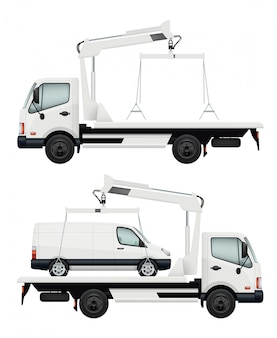 Эвакуаторная машина. реалистичные автомобили, иллюстрация эвакуаторов