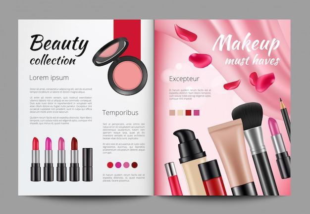 雑誌での化粧品の広告。テンプレート女性誌
