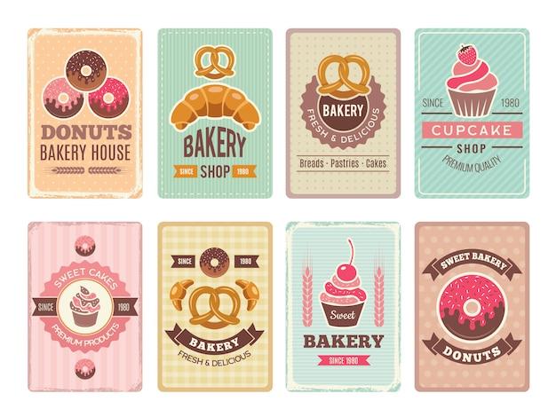 ベーカリーカード。新鮮な甘い食べ物カップケーキドーナツやレトロなスタイルのビンテージメニューの他のベーキング製品イラスト