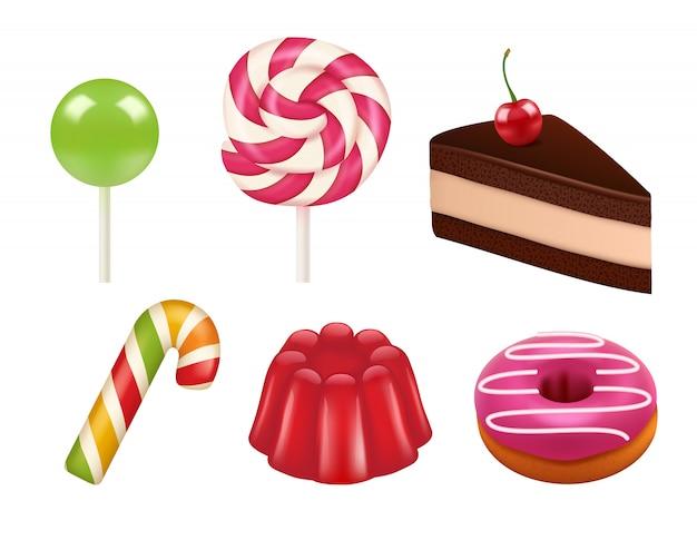 お菓子のリアルな写真。キャラメルとチョコレートのお菓子の色付きのロリポップと吸盤。お菓子のリアルなイラスト