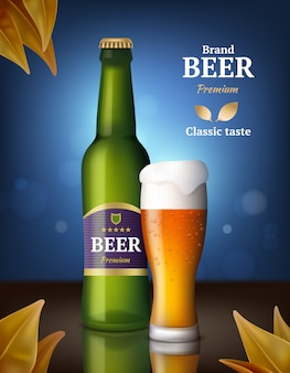 ビールアルコールポスター。飲料小売イメージ製品の広告ボトルとグラスビール広告