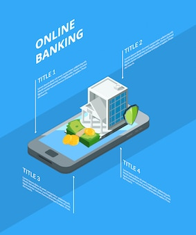 銀行アイコンインフォグラフィックイラストで等尺性のお金の流れ