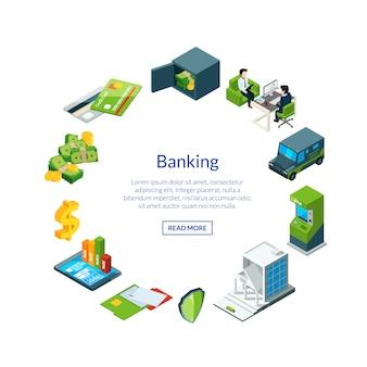 銀行アイコンイラストで等尺性のお金の流れ