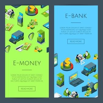 Изометрические денежный поток в банковских икон