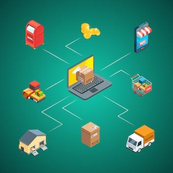 Изометрические иконки доставки и доставки инфографики иллюстрации