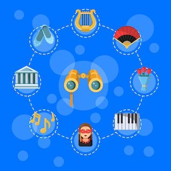 Плоский театр иконки инфографики концепция