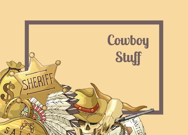 保安官のテキストフレーム。手描きの野生の西のカウボーイ