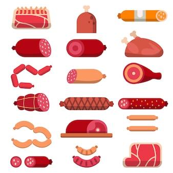 肉屋のさまざまな製品。平らな肉